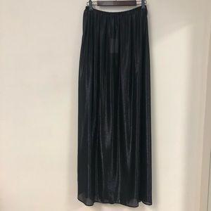 Black silk lurex semi-sheer maxi skirt M/L